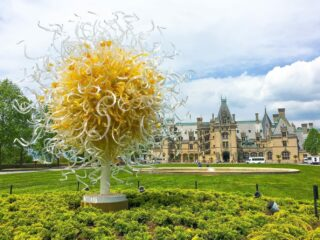 Sun glass Chihuly sculpture outside of Biltmore Estate