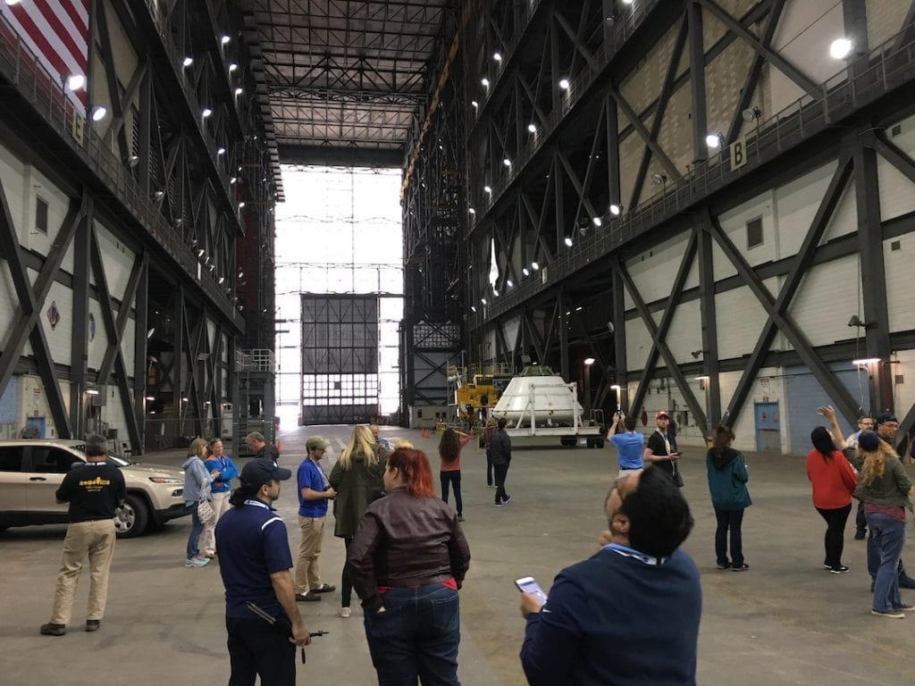 NASA Social participants inside the VAB looking up towards the high ceiling