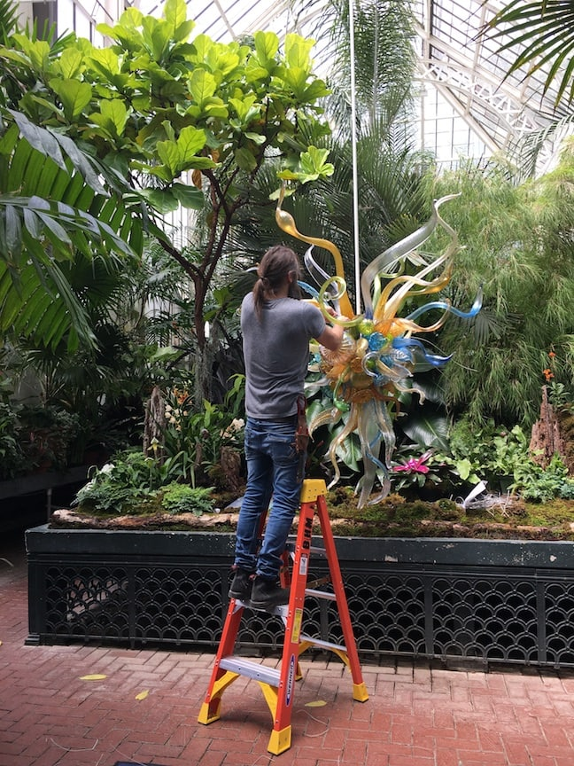 making Chihuly glass chandelier in conservatory