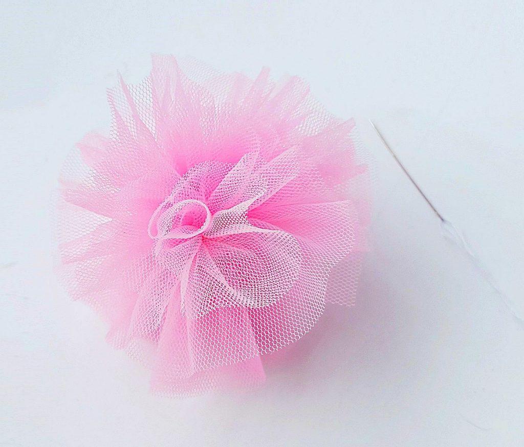 Pink mesh tulle body pouf bath sponge