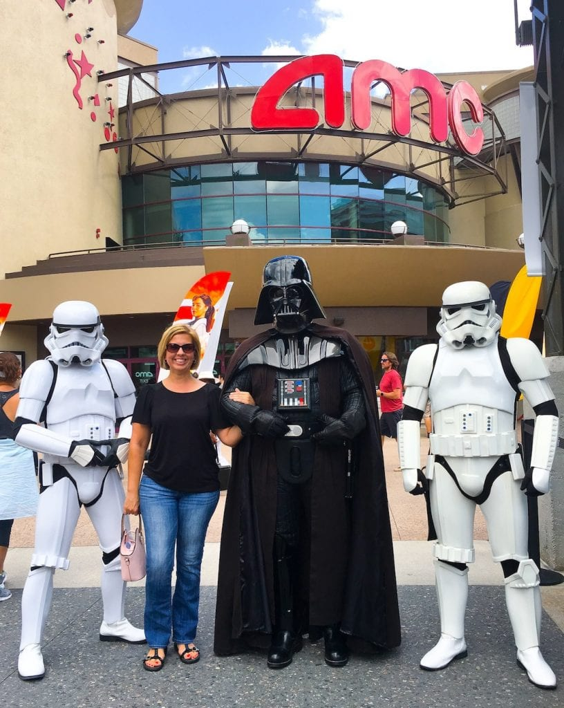 Kim with Darth Vader AMC Theaters Disney Springs