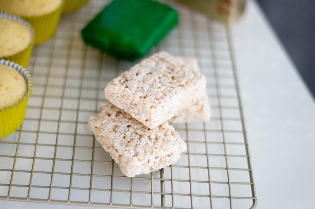 cut Rice Krispies treats with green fondant