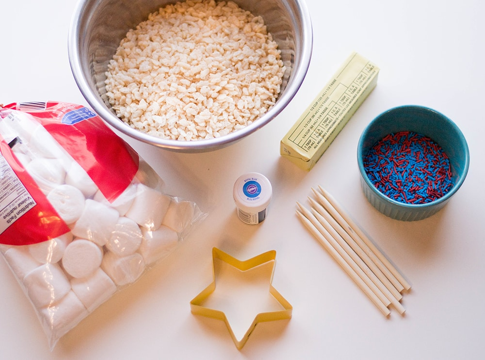 ingredients for patriotic red white and blue Rice Krispies treats
