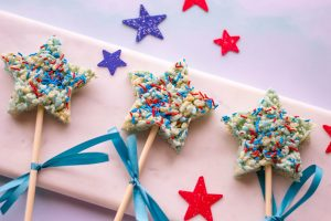 Patriotic Red White and Blue Rice Krispies Treats Snacks