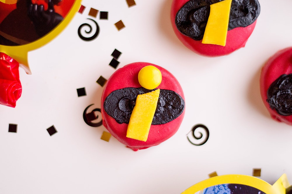 Oreos covered in red frosting with Disney Incredibles logo