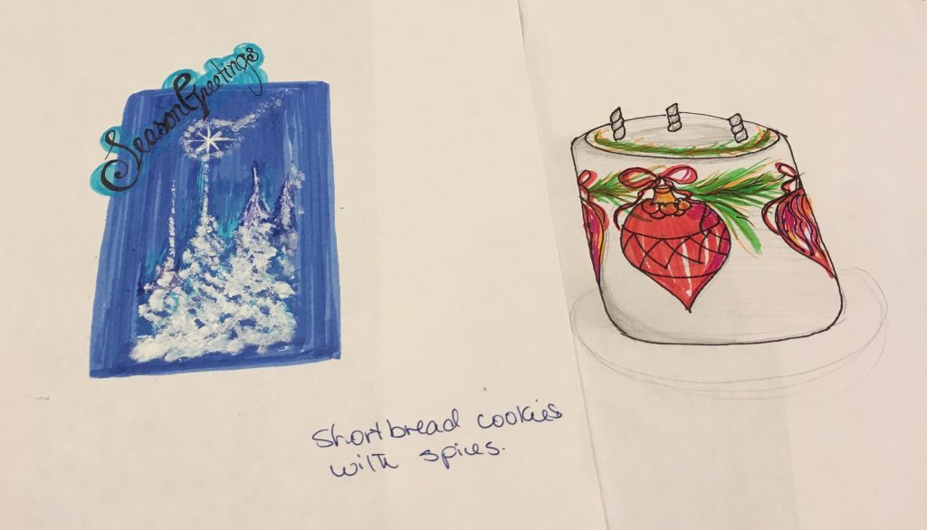 sketches of Christmas holiday cookies and cakes at Walt disney world