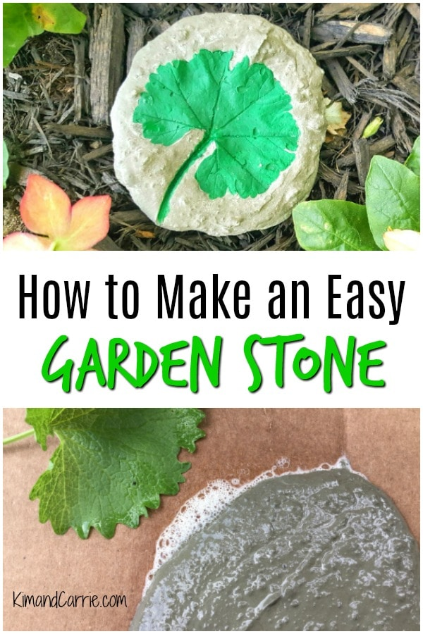 DIY Decorative Garden Stone with Leaf Imprint