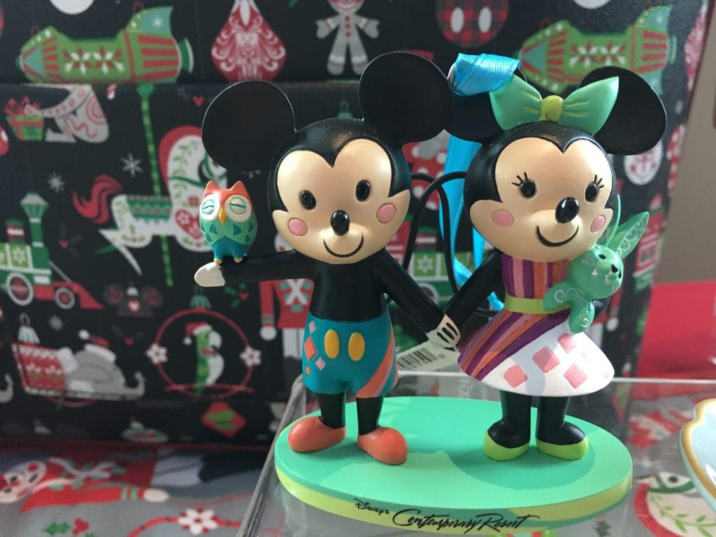 Mickey and Minnie Christmas Ornament Disney Contemporary Resort 2018