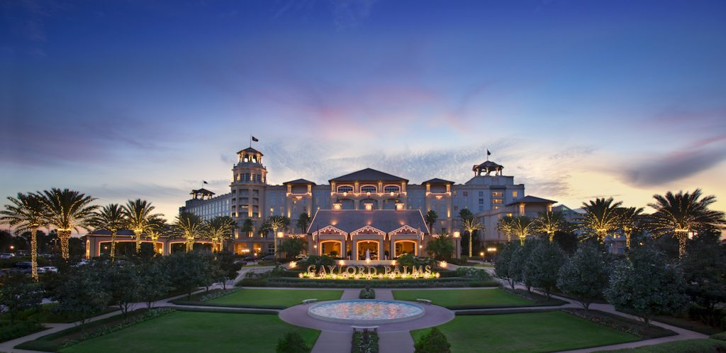 Gaylord Palms Resort in Orlando Florida exterior at dusk with lights