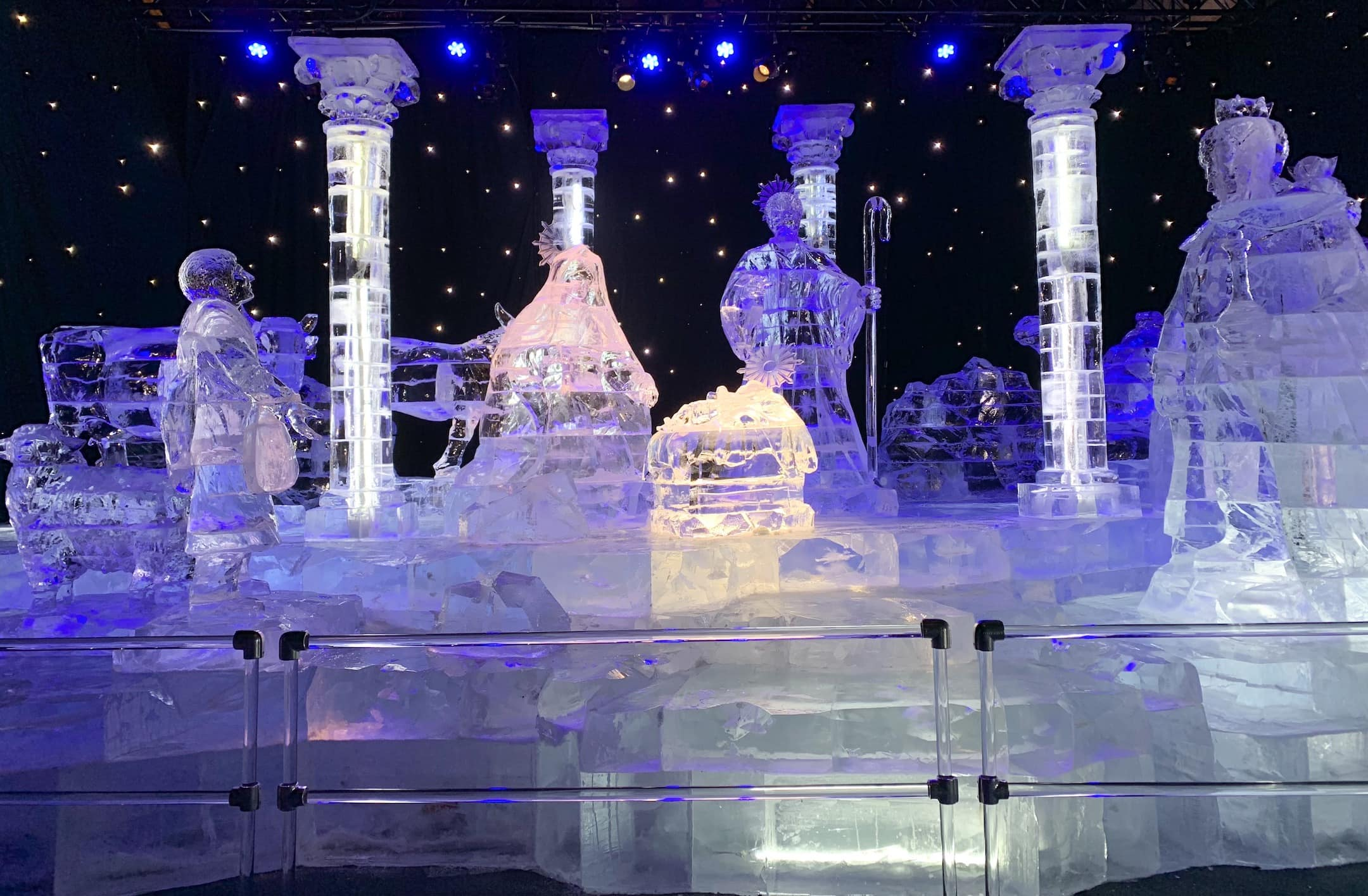 nativity carved from clear ice blocks