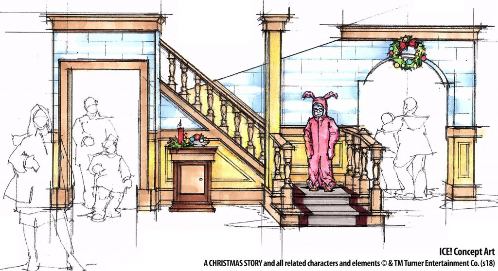 ICE A Christmas Story 2018 at Gaylord Palms rendering pink bunny pajamas
