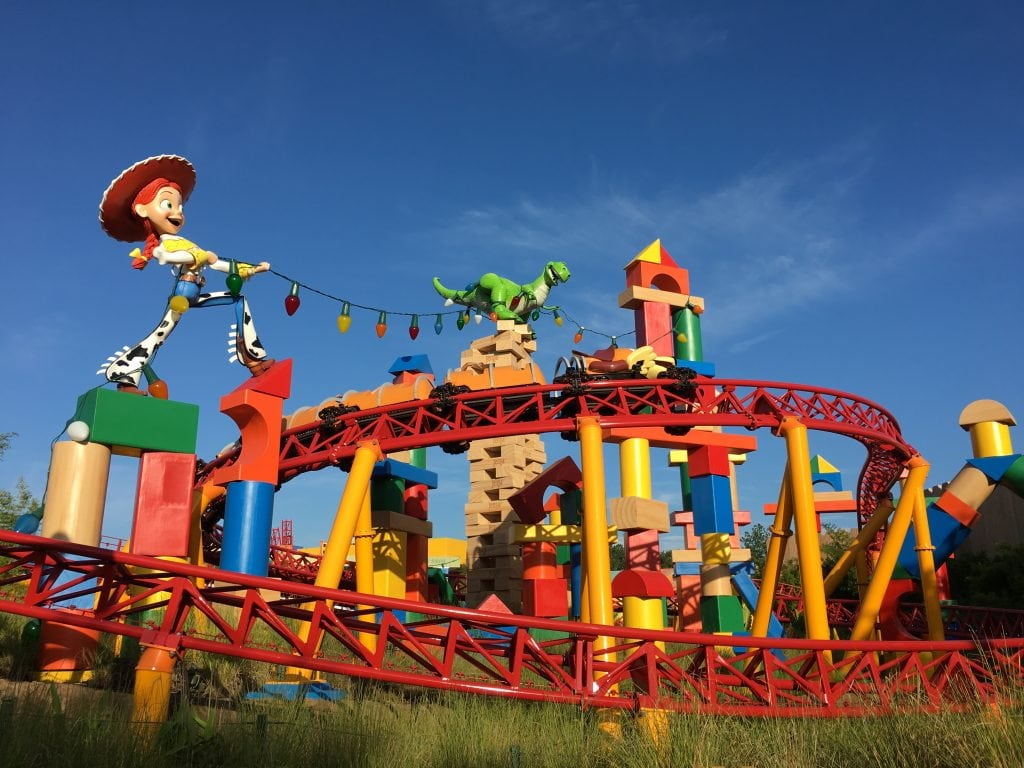 Red roller coaster track in Disney Toy Story Land