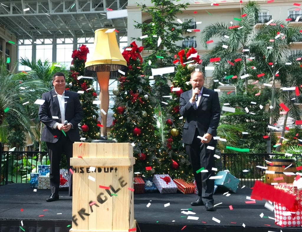 confetti flying through air and leg lamp from Christmas Story movie for 2018 ICE Gaylord Palms