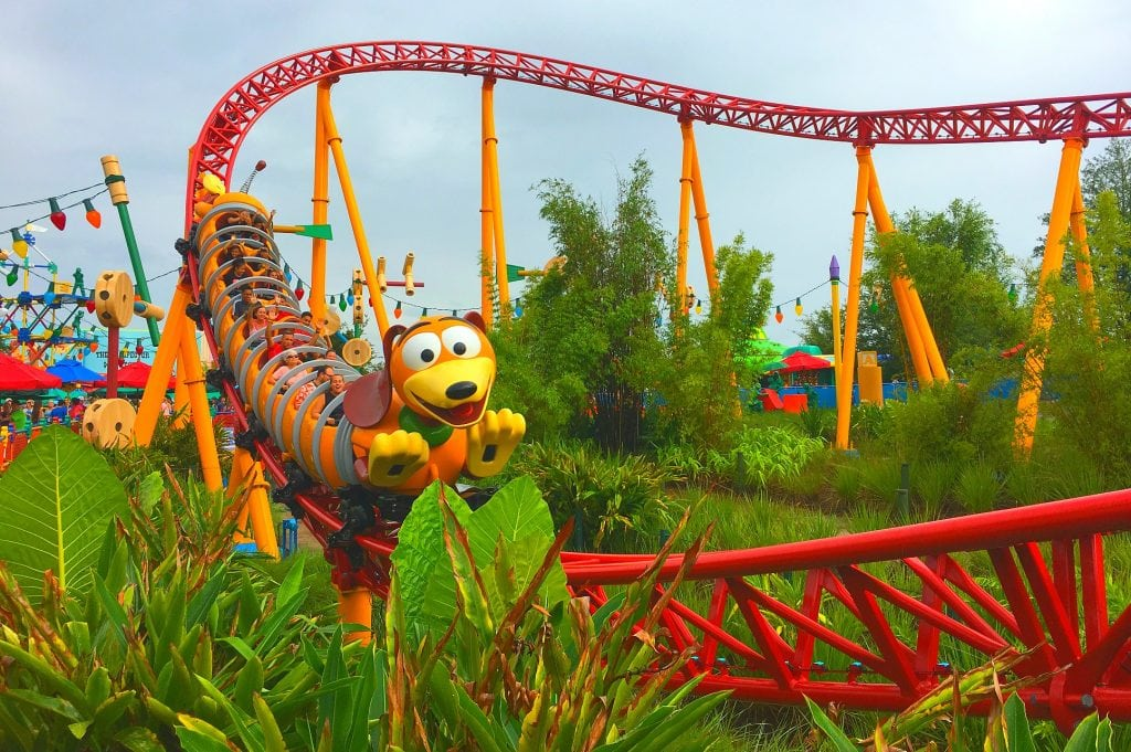slinky dog roller coaster on a red track at Toy Story Land Disney World