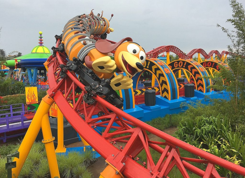 Slinky Dog Dash Toy Story Land Roller Coaster on red track at Disney World