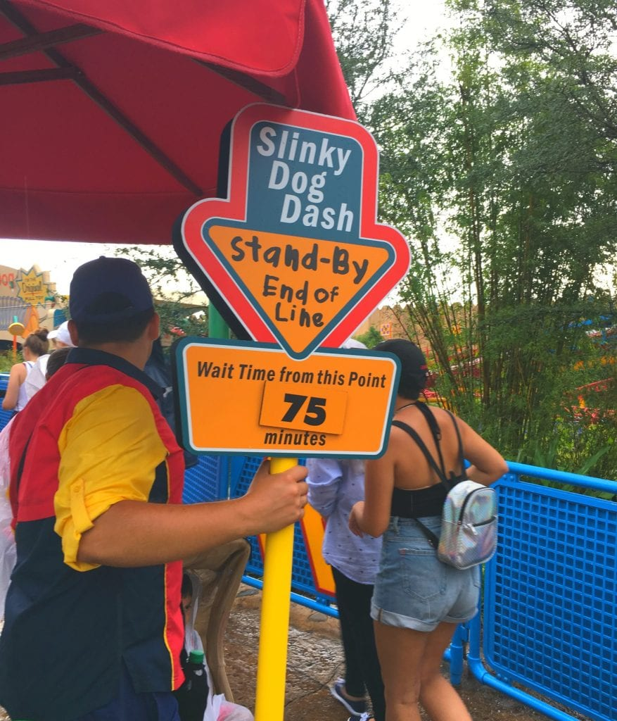 sign for wait time for slinky dog dash at Toy Story Land
