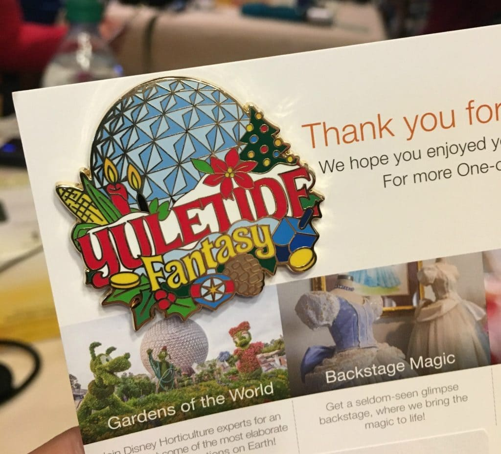 yuletide fantasy tour pin from adventures by disney at Walt Disney world