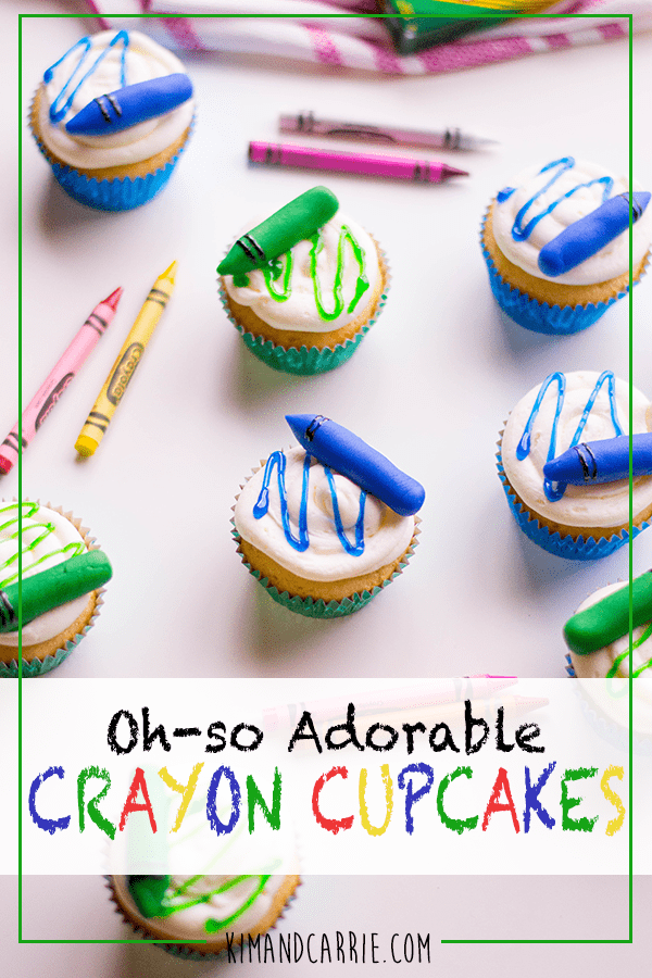 Blue and Green Edible Crayons Cupcakes for Back to School
