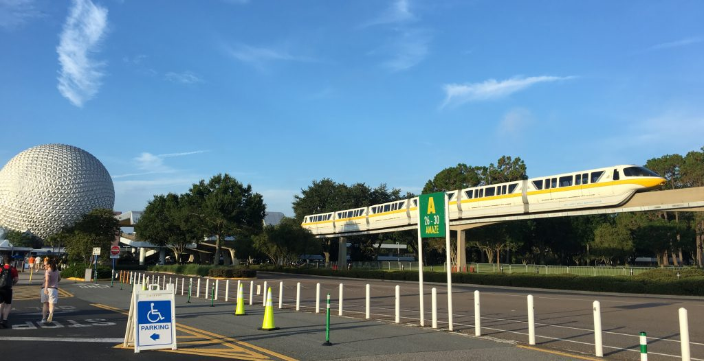monorail on track near Epcot