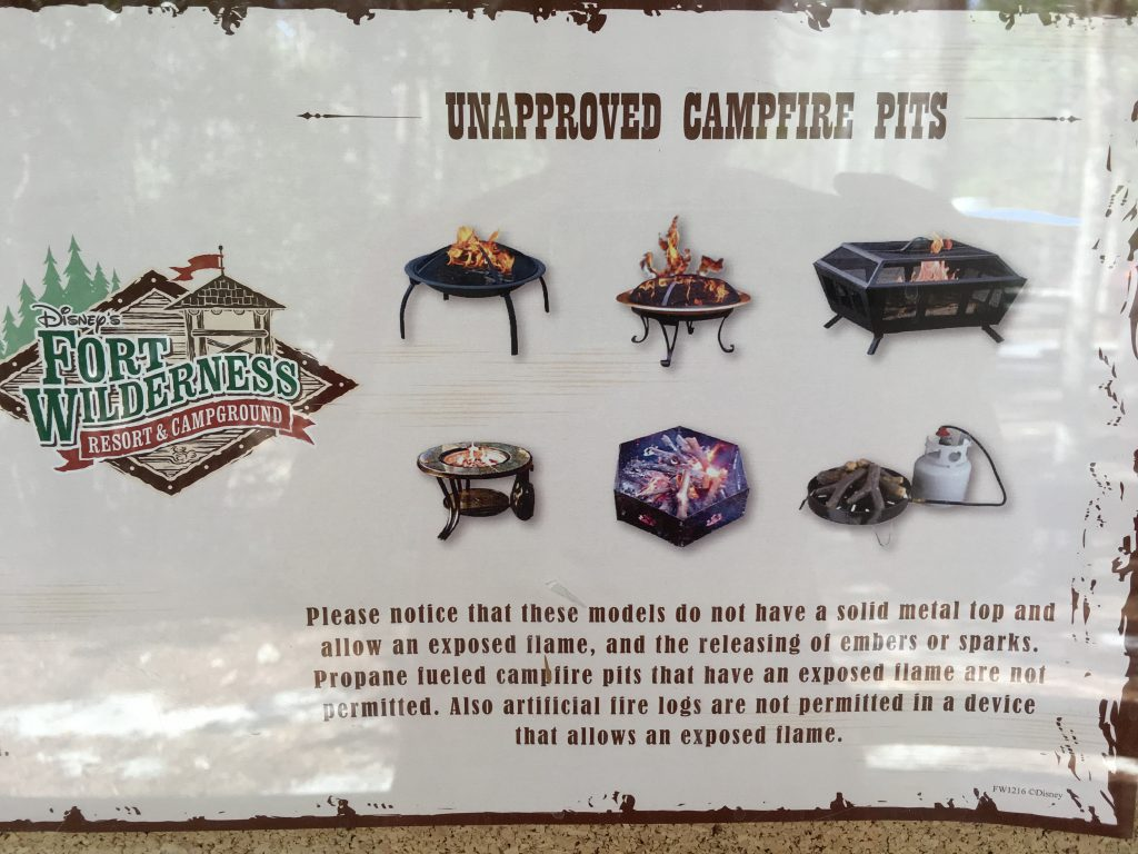 campfire pits signs at fort wilderness campground