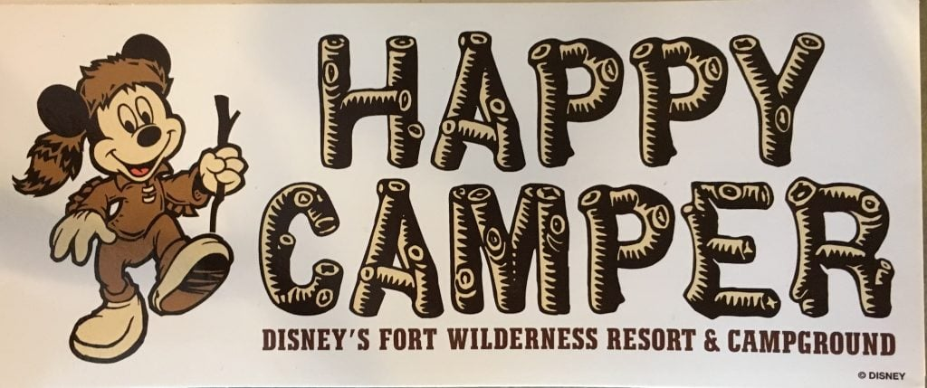 Happy Camper sign with Mickey Mouse