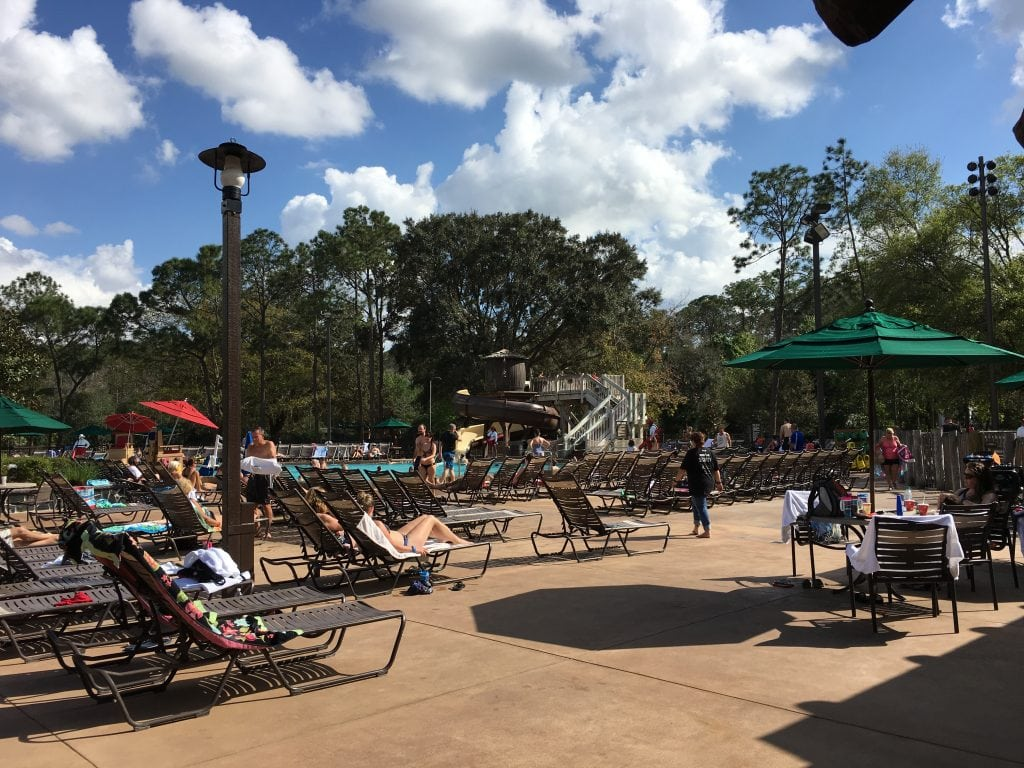 pool chairs by pool at Disneys Fort Wilderness Campground
