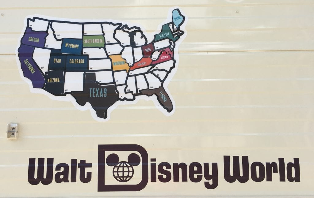 Us states map with Walt Disney World logo