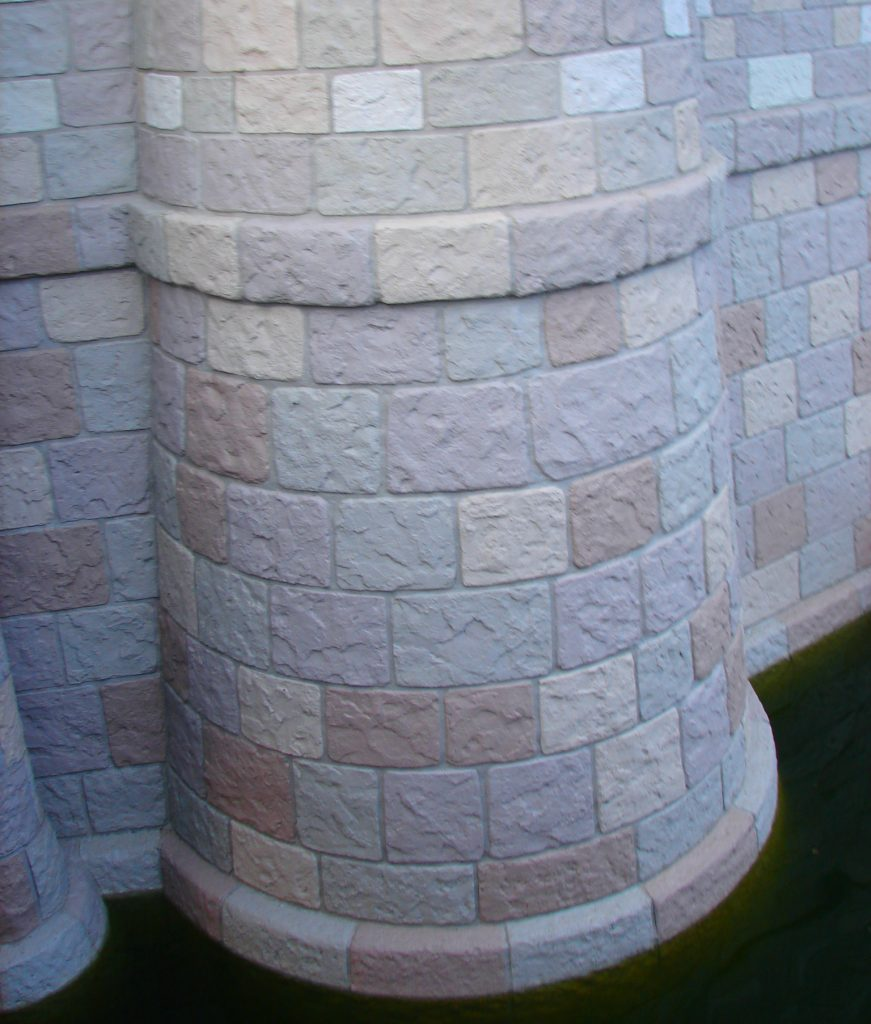 Brick details made from plaster on disney Cinderella Castle
