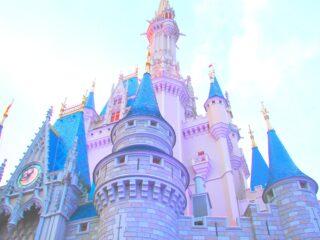 Disney castle against blue sky