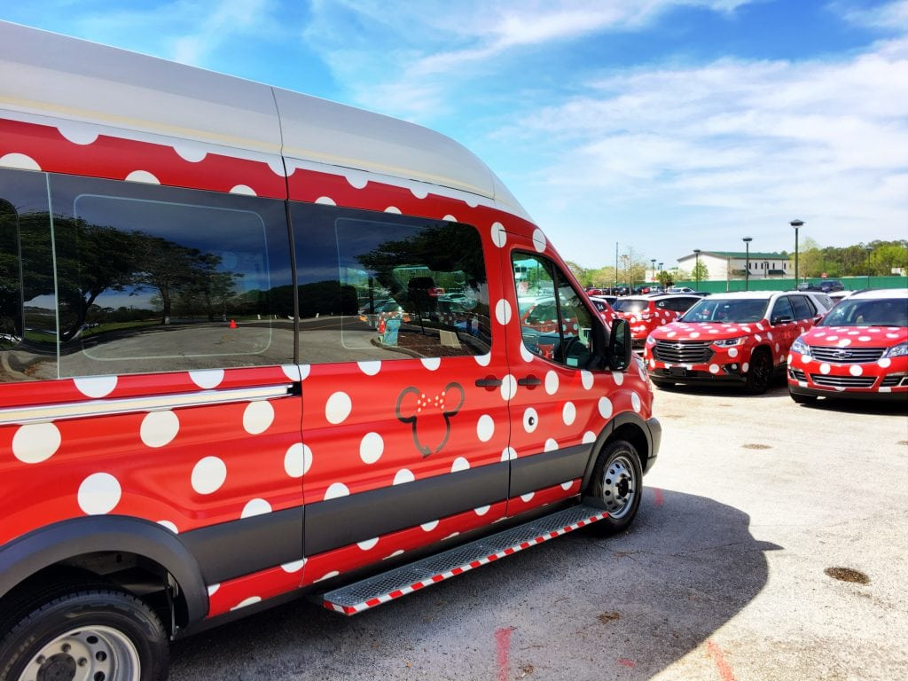 van painted red with white polka dots Disney Transportation