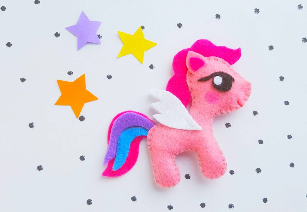 My Little Pony Plush Doll Pink Felt stars on polka dot background
