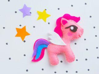 My Little Pony Plush Doll Pink Felt stars on polka dot background