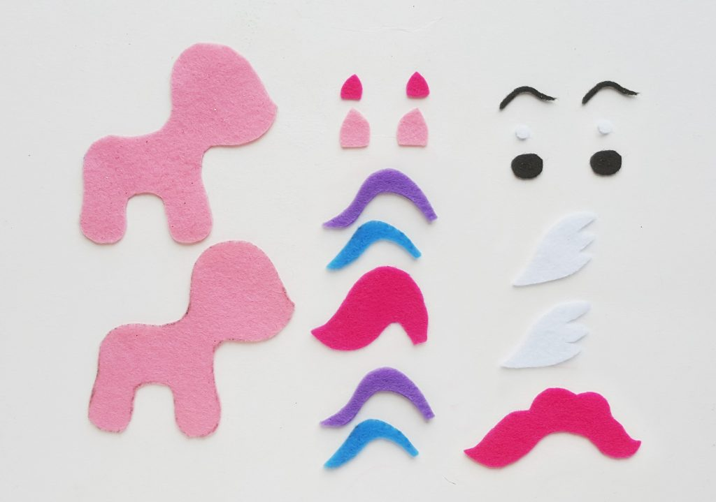DIY My Little Pony Felt Pieces Cut Out