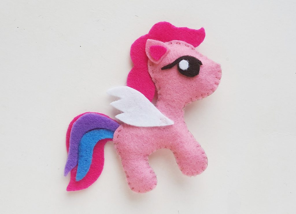 My little pony pink plush toy made from felt