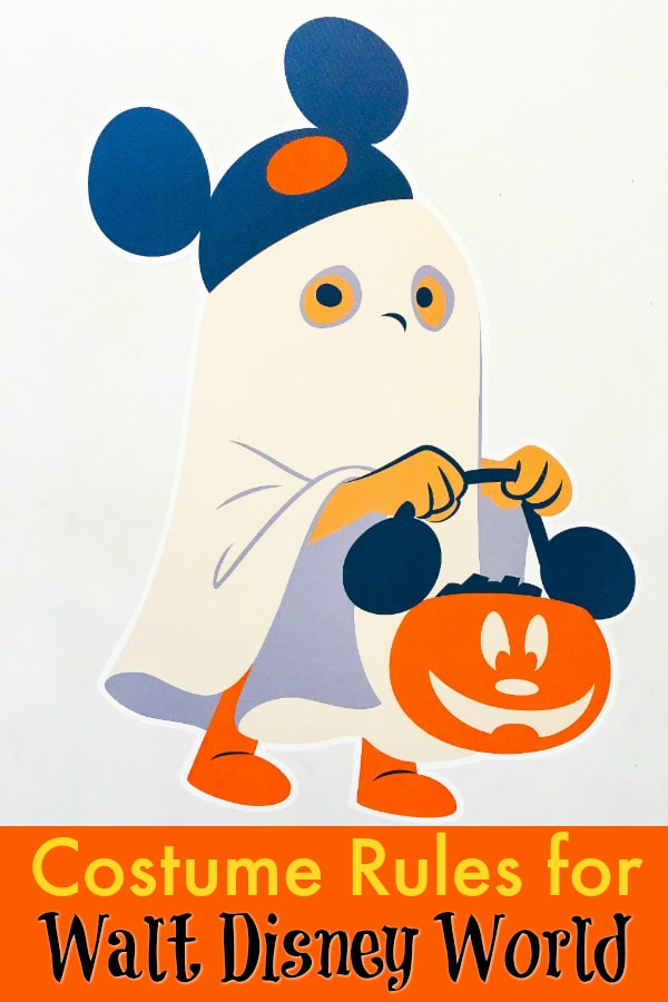 cartoon child wearing a white sheet ghost costume with Mickey Mouse ears hat holding an orange pumpkin with mouse ears