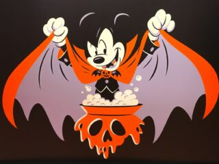 Mickey Mouse dressed like a vampire