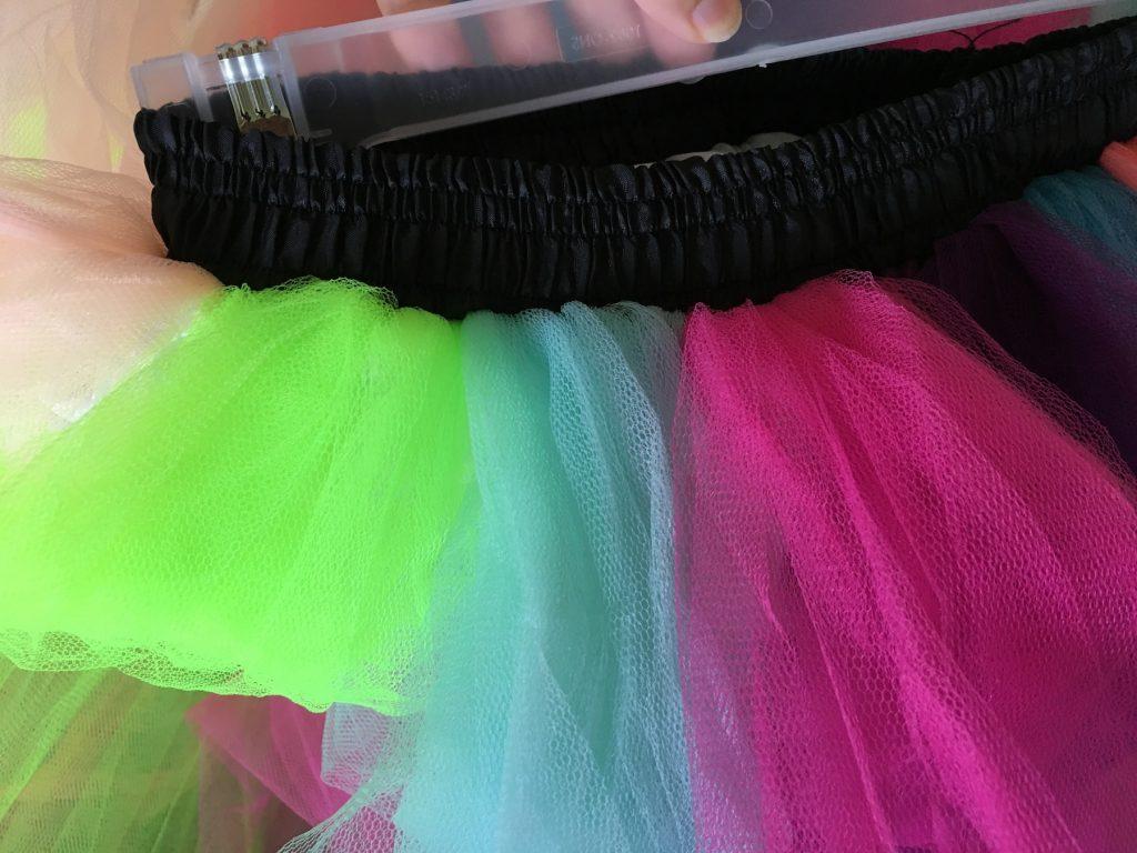 rainbow tulle skirt with black waistband