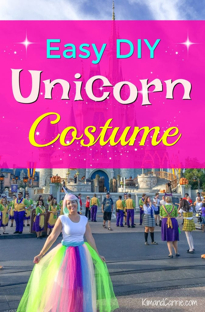 wearing unicorn costume in front of Cinderella Caste at magic Kingdom Disney