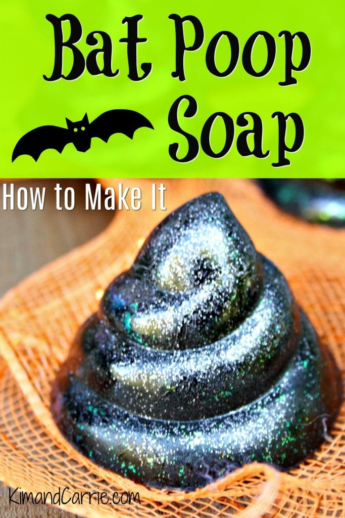 glittery black poop soap on orange tulle