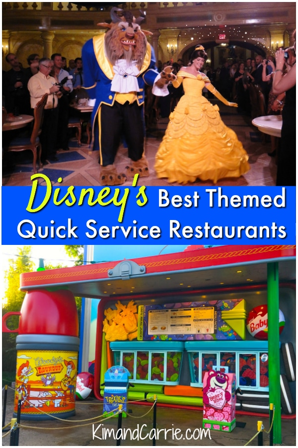 Beast and Belle in Be Our Guest Restaurant Toy Story Land Woody's Lunchbox
