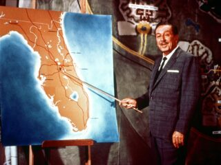 Walt Disney pointing at map of state of Florida announcing The Florida Project