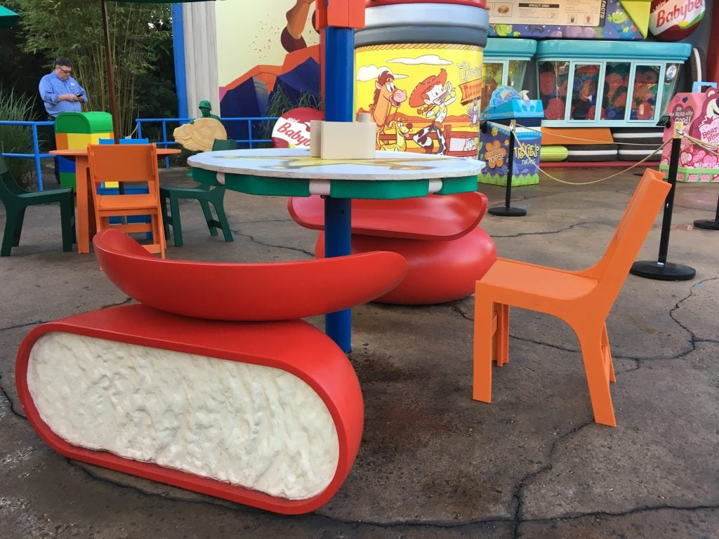Babybel cheese chairs at Disney Toy Story Land