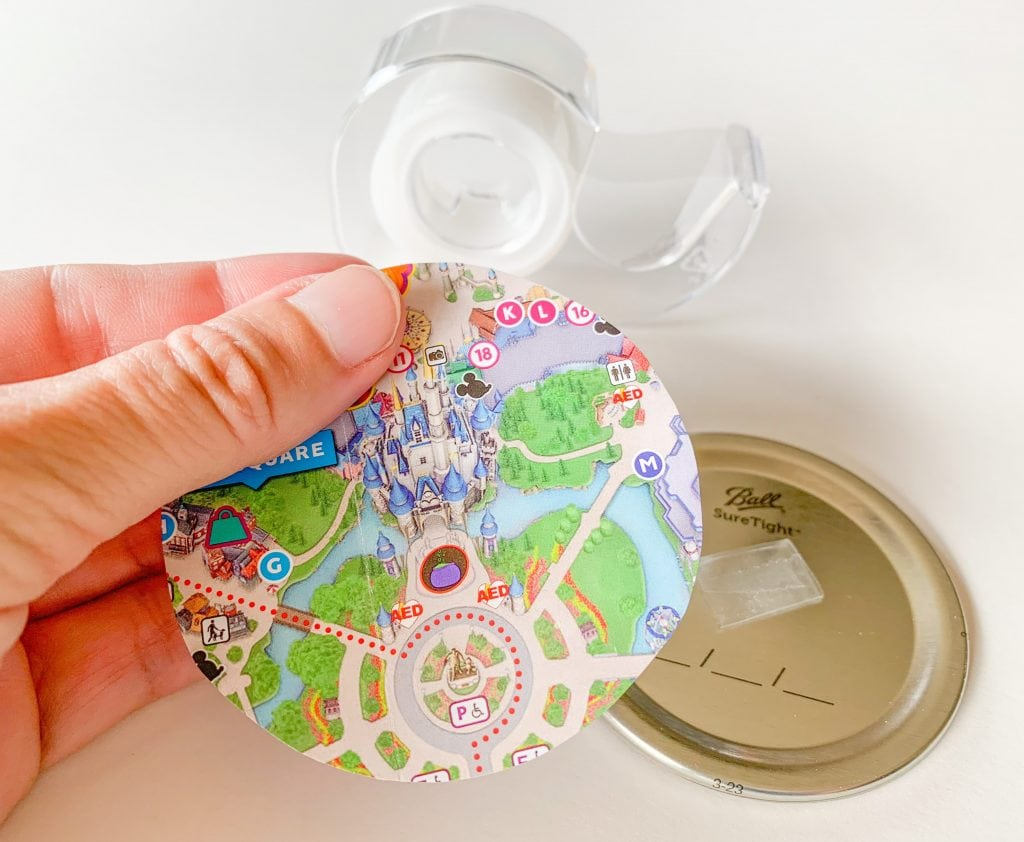 canning jar lid with theme park map