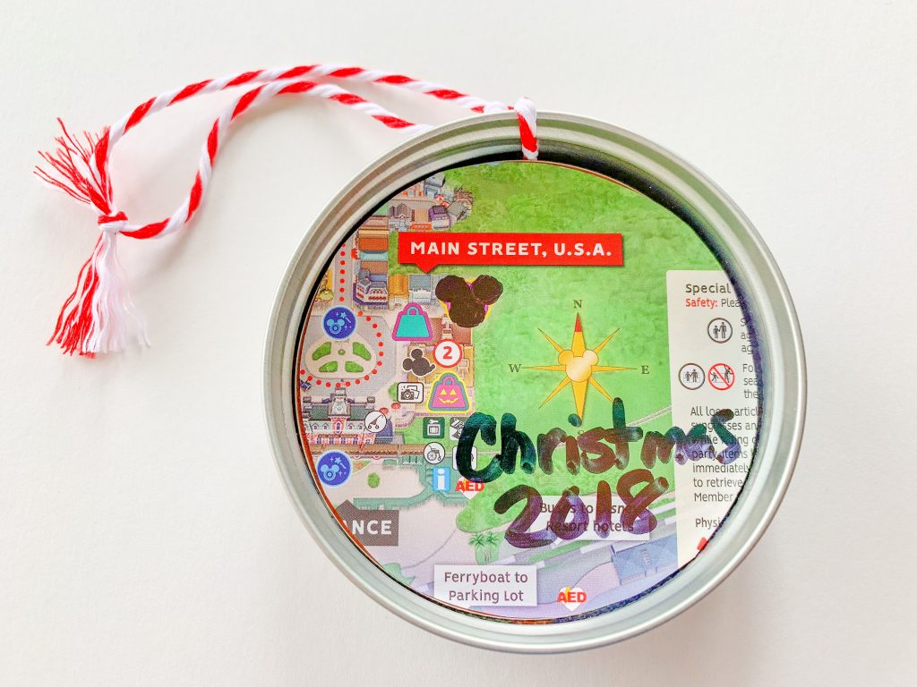 Canning Jar Lid with Disney theme Park Map and Santa Mickey Mouse Button