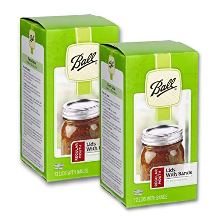 (2 Pack) Ball Regular Mouth Lids with Bands - 12 Lids with Bands per Box