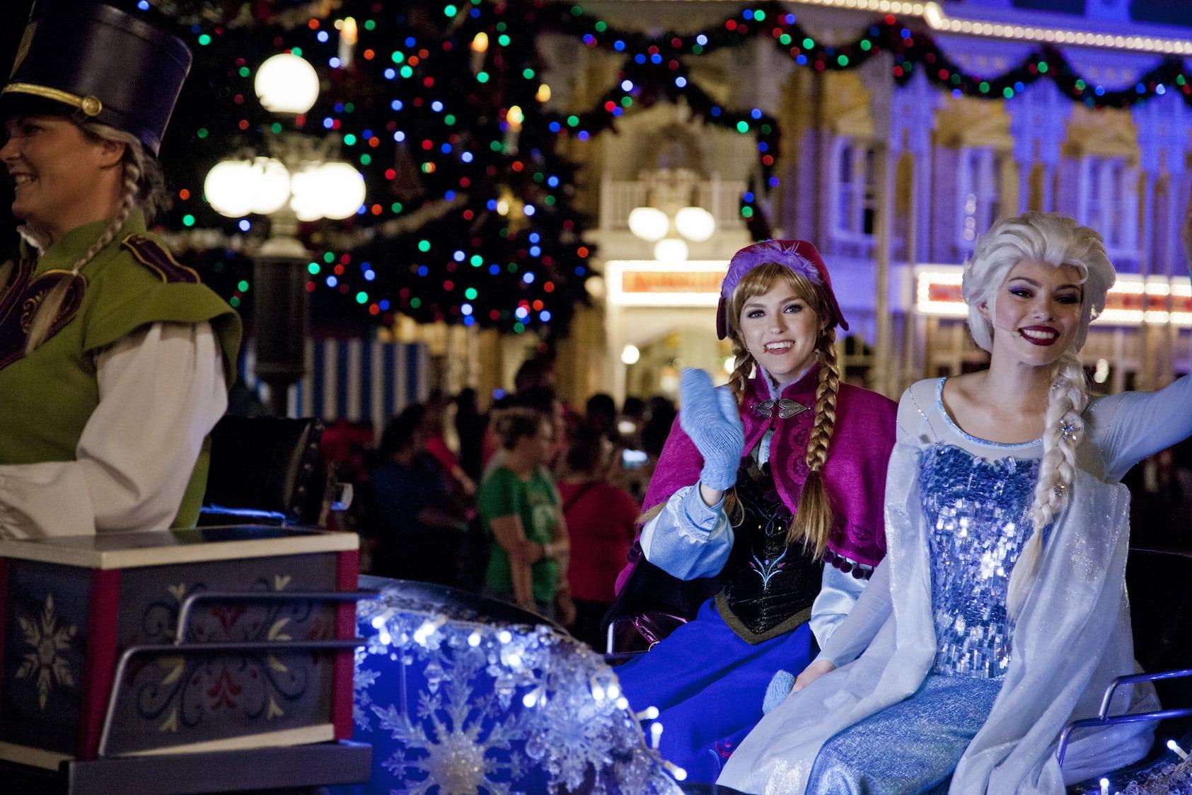 Anna Elsa Frozen Parade Mickey's Very Merry Christmas Party Magic Kingdom