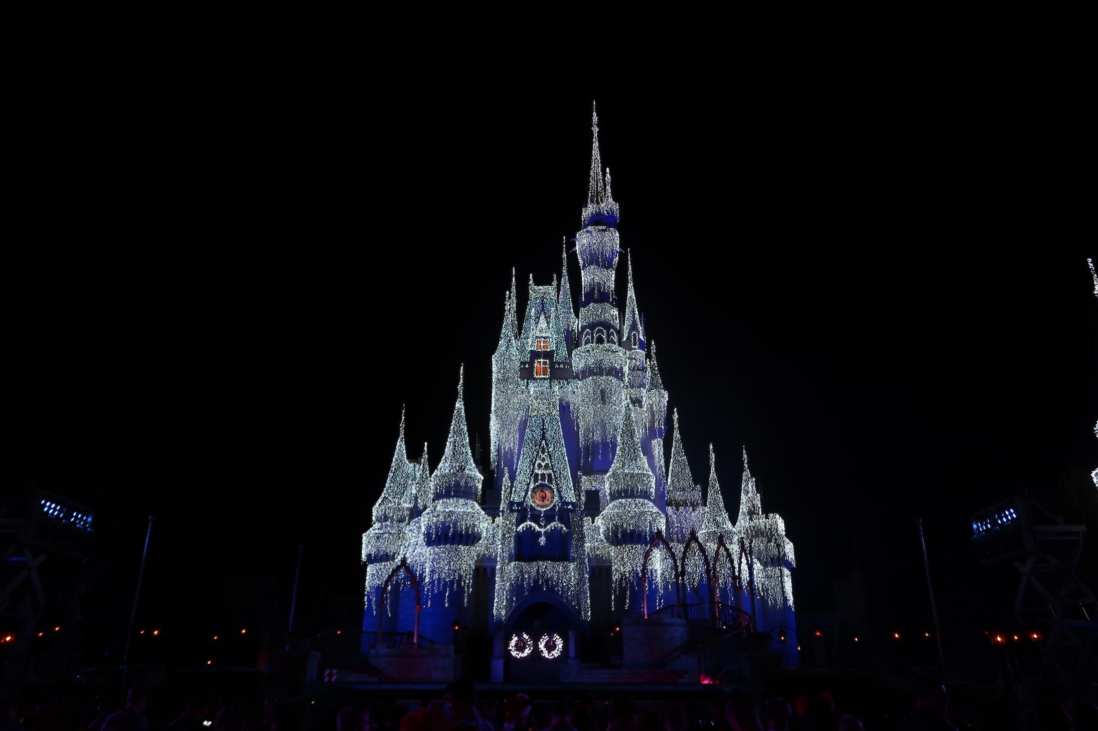 Cinderella Castle Magic Kingdom with Ice Lights