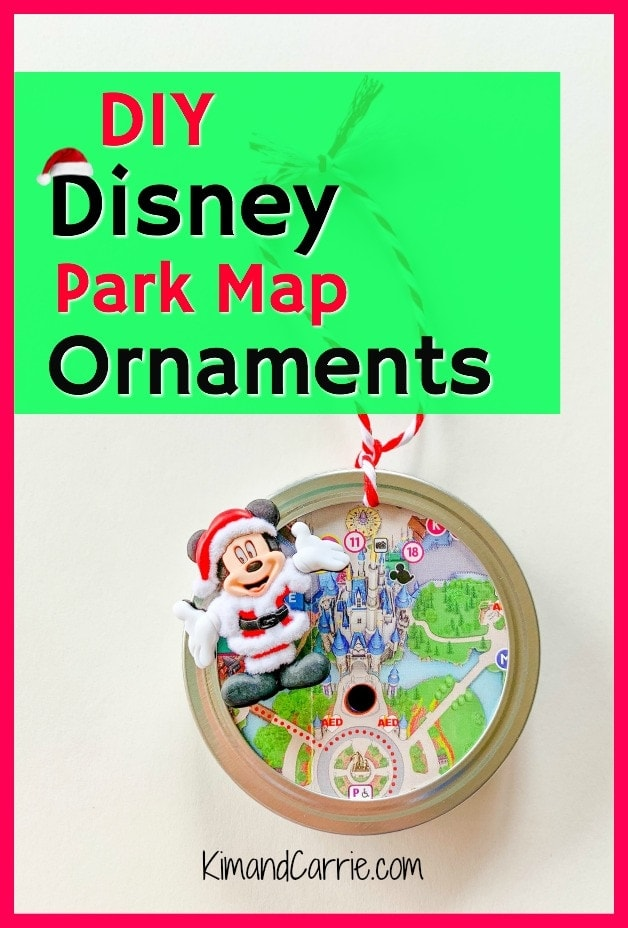 canning jar lid Disney theme park map ornament DIY project