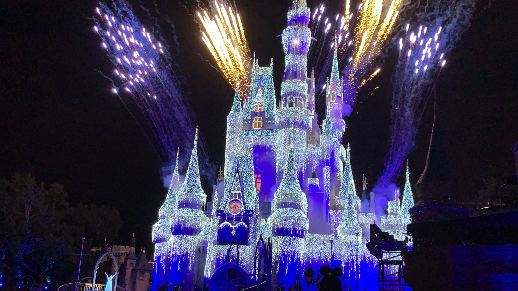 Fireworks Cinderella Castle with Ice Lights Mickey's Very Merry Christmas Party Magic Kingdom
