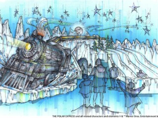 The polar express train made out of ice